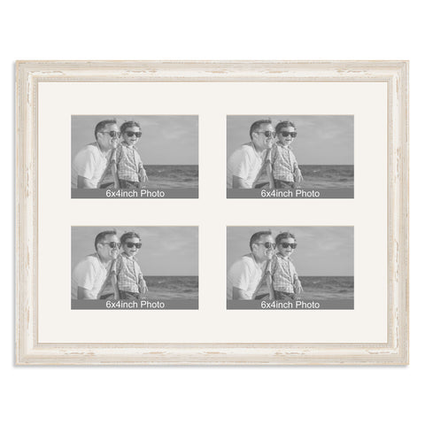 White Shabby Chic Multi Aperture Frame for four 6x4/4x6in Photos