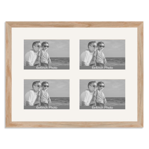 Solid Oak Multi-Aperture Frame for four 6x4/4x6in Photos