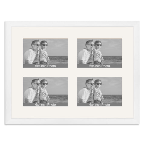 Matt White Multi-Aperture Frame for four 6x4/4x6in Photos