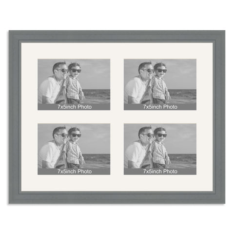 Grey Multi-Aperture Frame for four 7x5/5x7in Photos
