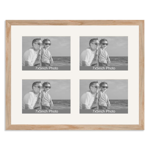 Solid Oak Multi-Aperture Frame for four 7x5/5x7in Photos