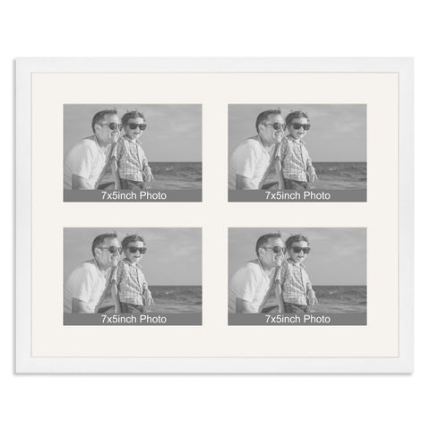 Matt White Multi-Aperture Frame for four 7x5/5x7in Photos