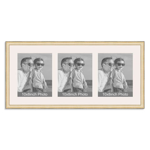 Gold Multi-Aperture Frame for three 10x8/8x10in Photos