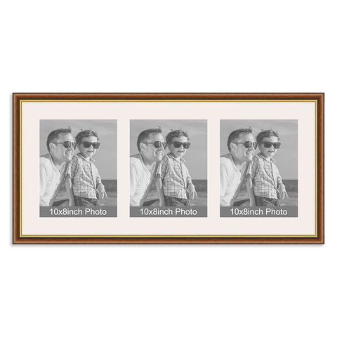 Traditional Mahogany & Gold Multi-Aperture Frame for three 10x8/8x10in Photos