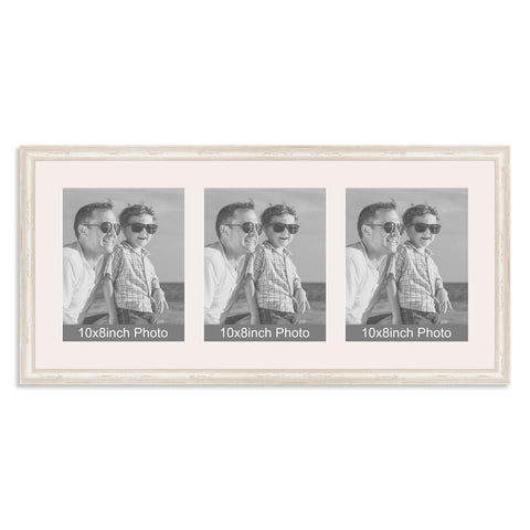 White Shabby Chic Multi-Aperture Frame for three 10x8/8x10in Photos