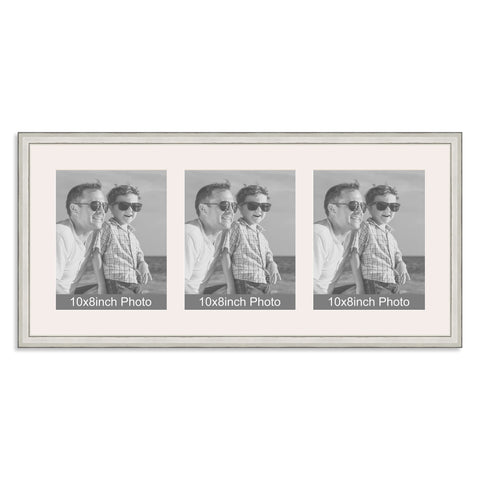 Silver Multi-Aperture Frame for three 10x8/8x10in Photos