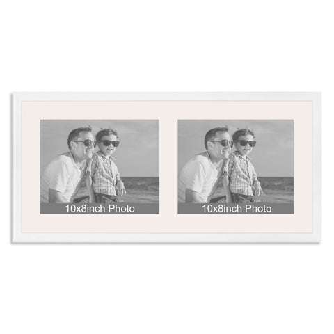 Matt White Multi-Aperture Frame for two 10x8/8x10in landscape Photos