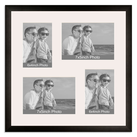 Matt Black Multi Aperture Photo Frame for two 7x5/5x7in and two 6x4/4x6in photos