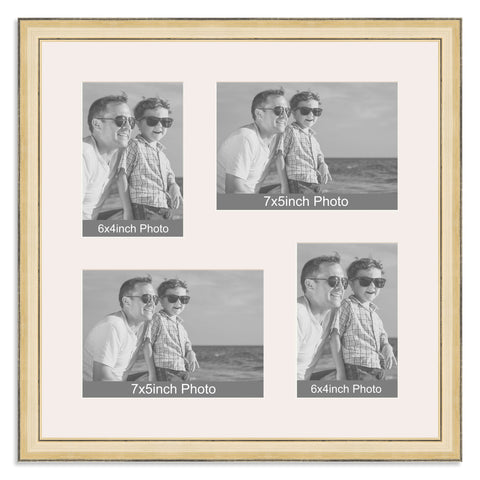 Gold Multi Aperture Photo Frame for two 7x5/5x7in and two 6x4/4x6in photos