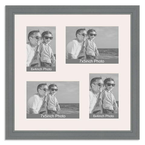 Grey Multi Aperture Photo Frame for two 7x5/5x7in and two 6x4/4x6in photos