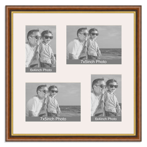 Traditional Mahogany & Gold Multi Aperture Photo Frame for two 7x5/5x7in and two 6x4/4x6in photos