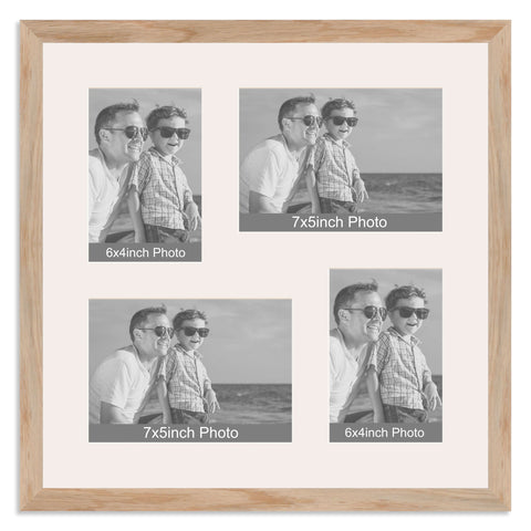 Solid Oak Multi Aperture Photo Frame for two 7x5/5x7in and two 6x4/4x6in photos