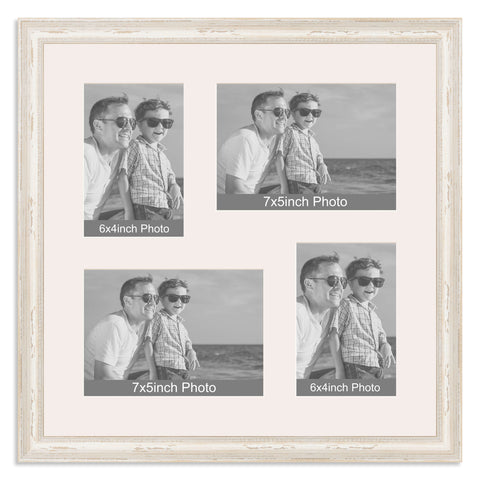 White Shabby Chic Multi Aperture Photo Frame for two 7x5/5x7in and two 6x4/4x6in photos