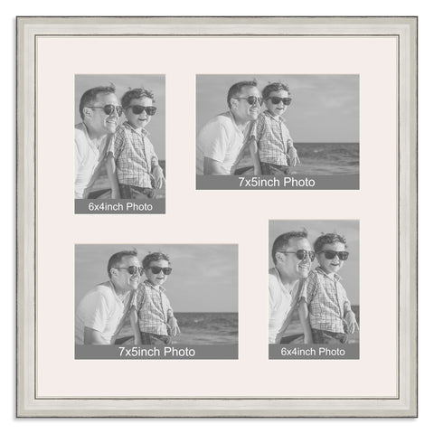 Silver Multi Aperture Photo Frame for two 7x5/5x7in and two 6x4/4x6in photos