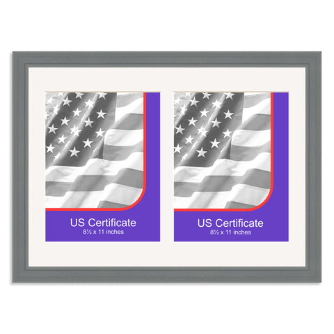 Grey Double US Certificate (8.5x11in) Multi Aperture Certificate Frame