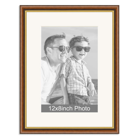 Mahogany and Gold Wooden Photo Frame for a 12x8/8x12in Photo