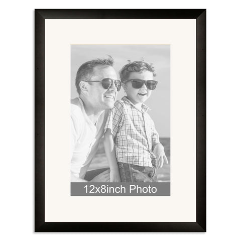 Black Wooden Photo Frame with mount for a 12x8/8x12in Photo