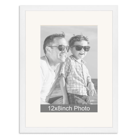 White Wooden Photo Frame for a 12x8/8x12in Photo