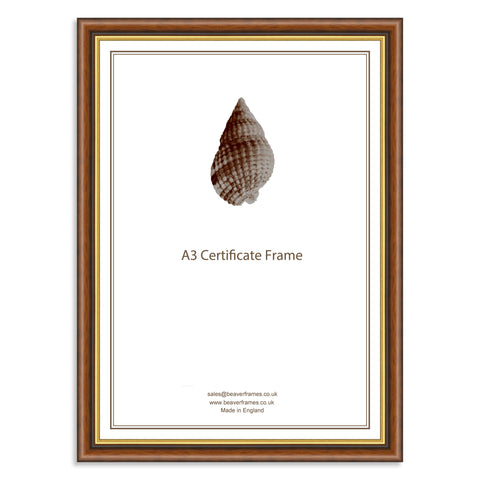 Classic Mahogany & Gold Wooden A3 Certificate Frame