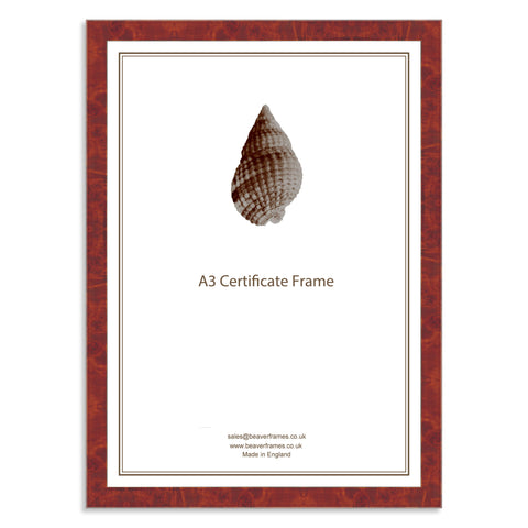 Classic Real Walnut Veneer Wooden A3 Certificate Frame