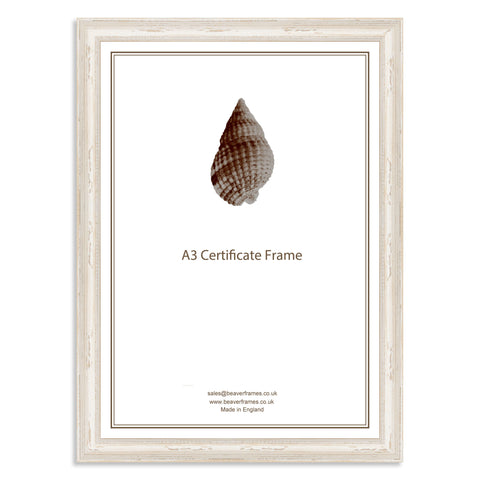 Classic White Shabby Chic Wooden A3 Certificate Frame