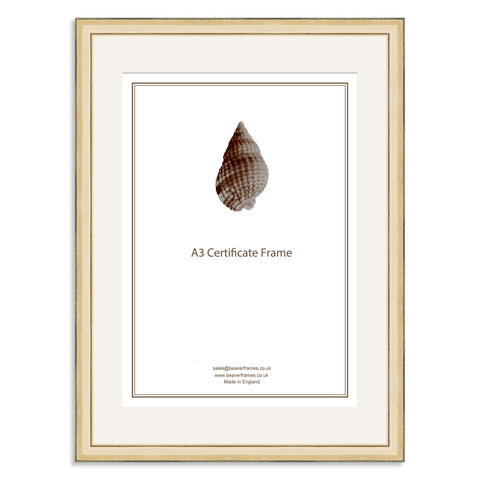 Elite Collection: Gold Wooden Frame and Mount for A3 Certificate