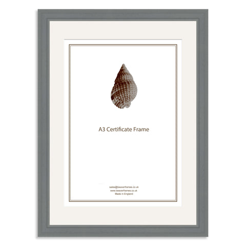 Elite Collection: Grey Wooden Frame and Mount for A3 Certificate