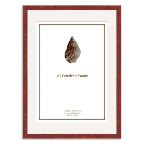 Elite Collection: Real Walnut Veneer Wooden Frame and Mount for A3 Certificate