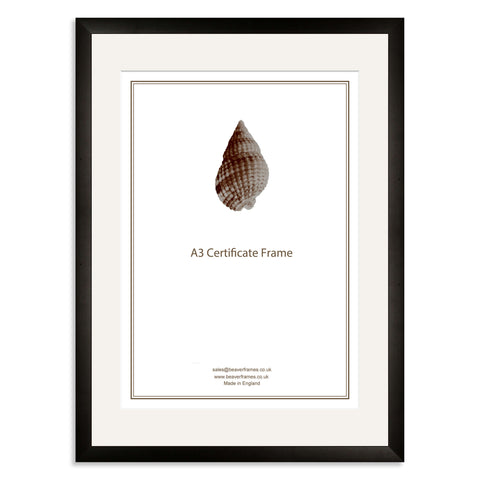 Elite Collection: Black Wooden Frame and Mount for A3 Certificate