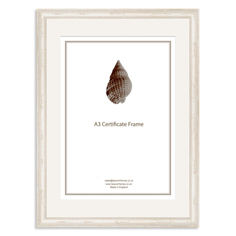 Elite Collection: White Shabby Chic Wooden Frame and Mount for A3 Certificate