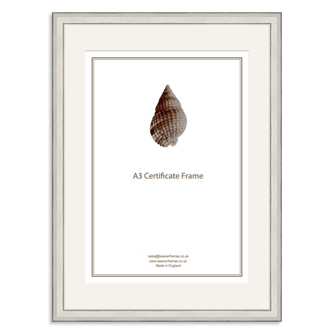 Elite Collection: Silver Wooden Frame and Mount for A3 Certificate