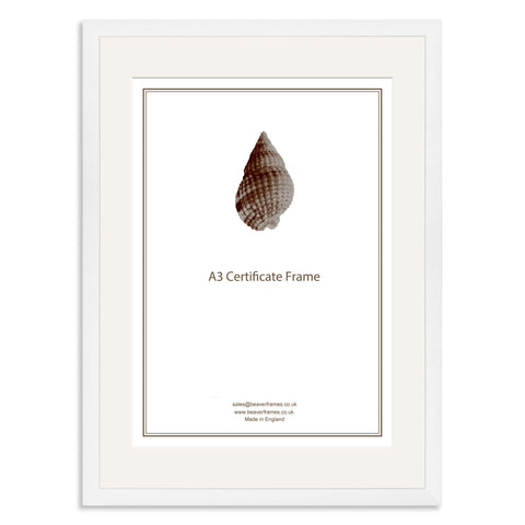 Elite Collection: White Wooden Frame and Mount for A3 Certificate
