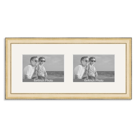 Gold Wooden Multi Aperture Frame for two 6x4/4x6in landscape Photos