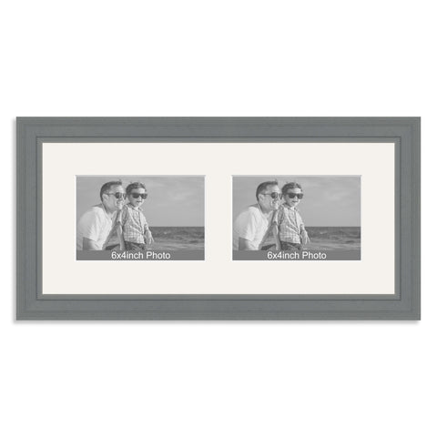 Grey Wooden Multi Aperture Frame for two 6x4/4x6in landscape Photos