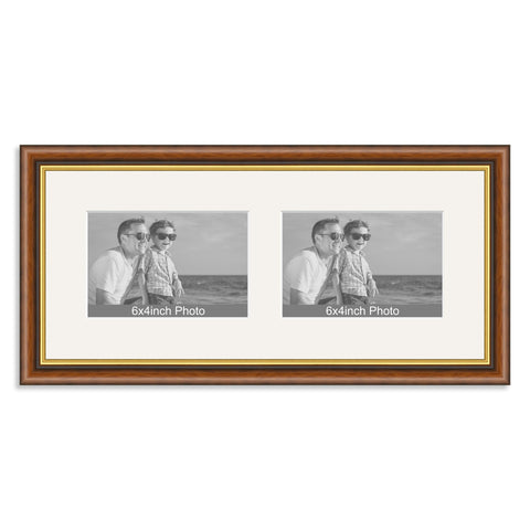 Mahogany & Gold Wooden Multi Aperture Frame for two 6x4/4x6in landscape Photos