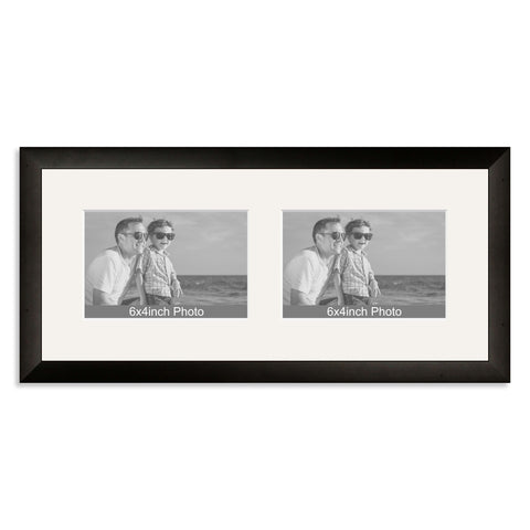 Black Wooden Multi Aperture Frame for two 6x4/4x6in landscape Photos