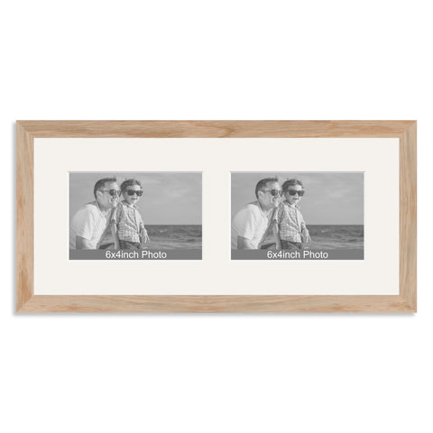 Solid Oak Multi Aperture Frame for two 6x4/4x6in landscape Photos