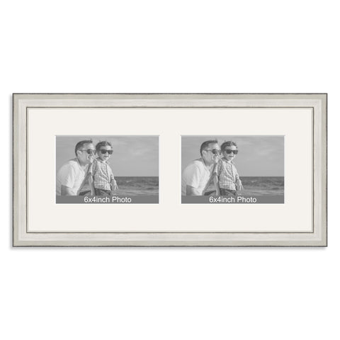 Silver Wooden Multi Aperture Frame for two 6x4/4x6in landscape Photos