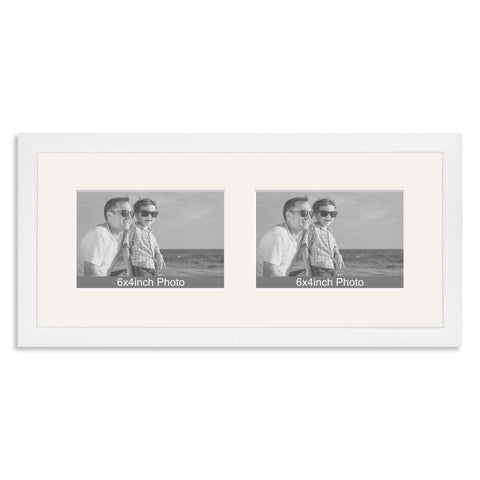 White Wooden Multi Aperture Frame for two 6x4/4x6in landscape Photos