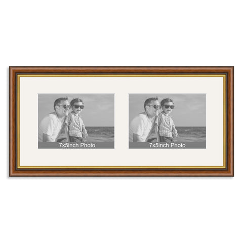 Mahogany & Gold Wooden Multi Aperture Frame for two 7x5/5x7in landscape Photos