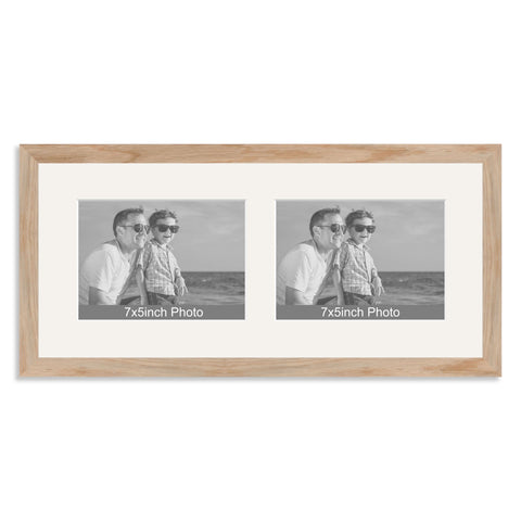 Solid Oak Multi Aperture Frame for two 7x5/5x7in landscape Photos