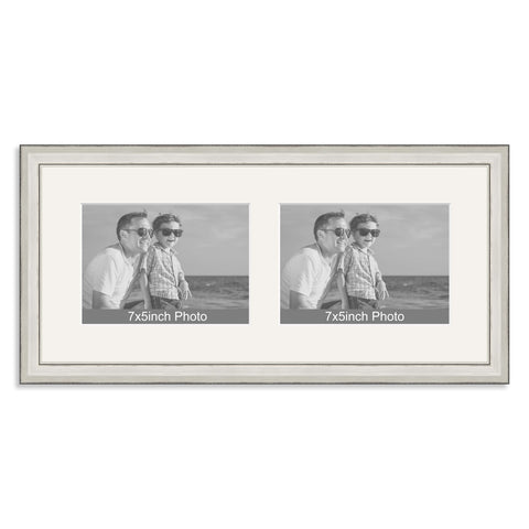 Silver Wooden Multi Aperture Frame for two 7x5/5x7in landscape Photos