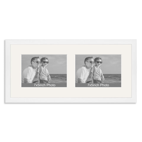 White Wooden Multi Aperture Frame for two 7x5/5x7in landscape Photos