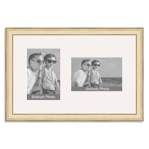 Gold Wooden Multi Aperture Frame for two 6x4/4x6in photos (one portrait/one landscape)