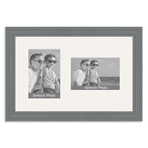 Grey Wooden Multi Aperture Frame for two 6x4/4x6in photos (one portrait/one landscape)