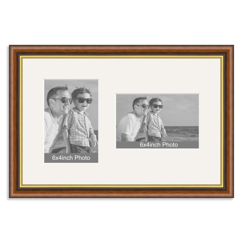 Mahogany & Gold Wooden Multi Aperture Frame for two 6x4/4x6in photos (one portrait/one landscape)