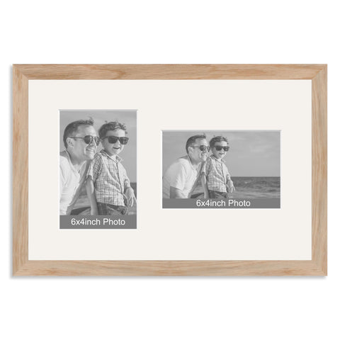 Solid Oak Multi Aperture Frame for two 6x4/4x6in photos (one portrait/one landscape)