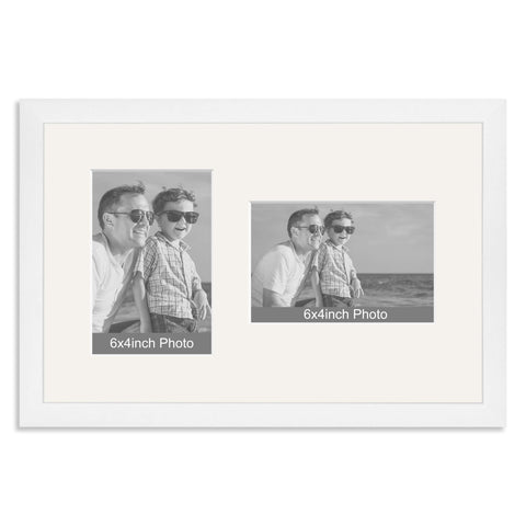 White Wooden Multi Aperture Frame for two 6x4/4x6in photos (one portrait/one landscape)