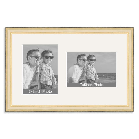 Gold Wooden Multi Aperture Frame for two 7x5/5x7in photos (one portrait/one landscape)