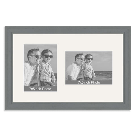 Grey Wooden Multi Aperture Frame for two 7x5/5x7in photos (one portrait/one landscape)